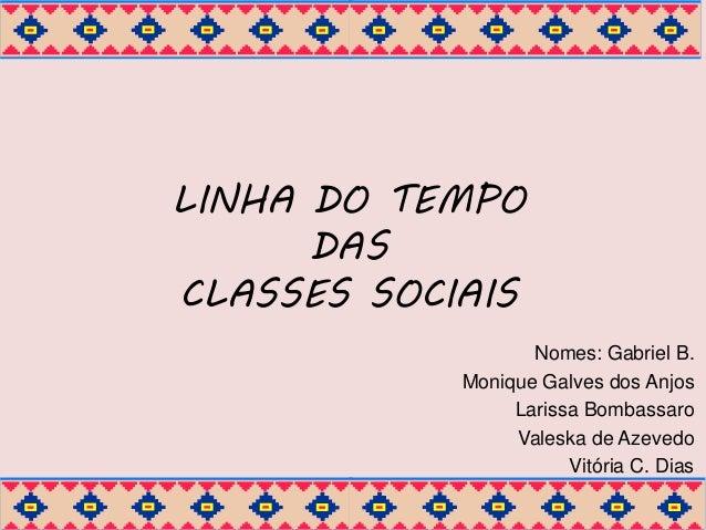 LINHA DO TEMPO  DAS  CLASSES SOCIAIS  Nomes: Gabriel B.  Monique Galves dos Anjos  Larissa Bombassaro  Valeska de Azevedo ...