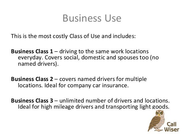 Car Insurance Business Use Classes