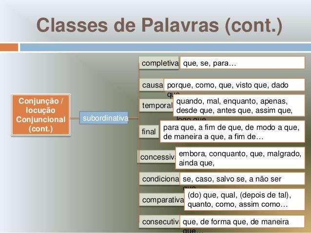 Classes de Palavras (cont.)                               completiva que, se, para…                               causal p...