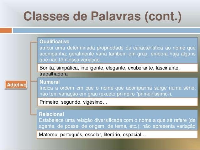 Classes de Palavras (cont.)           Qualificativo           atribui uma determinada propriedade ou característica ao nom...