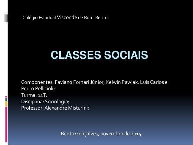 Colégio Estadual Visconde de Bom Retiro  CLASSES SOCIAIS  Componentes: Faviano Fornari Júnior, Kelwin Pawlak, Luis Carlos ...