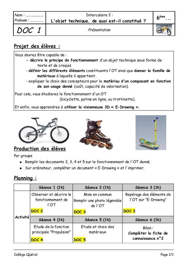 exercice de technologie 6eme a imprimer