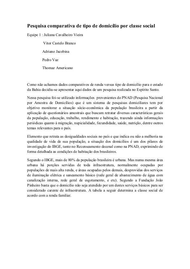 Pesquisa comparativa de tipo de domicílio por classe social Equipe 1 : Juliana Cavalheiro Vieira Vitor Castelo Branco Adri...
