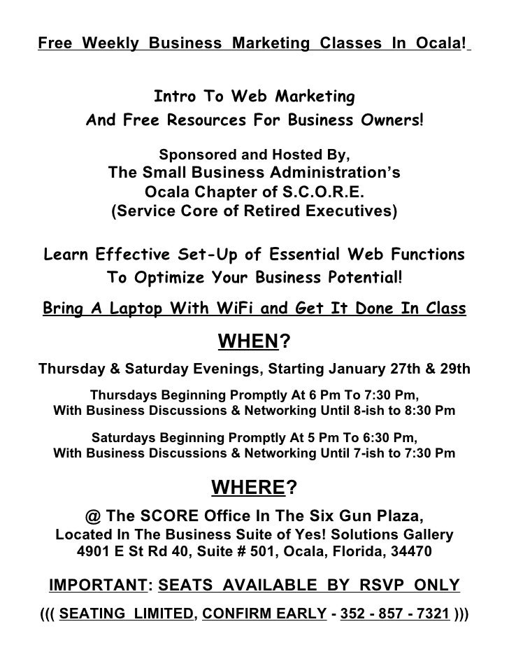 Free Weekly Business Marketing Classes In Ocala!             Intro To Web Marketing      And Free Resources For Business O...