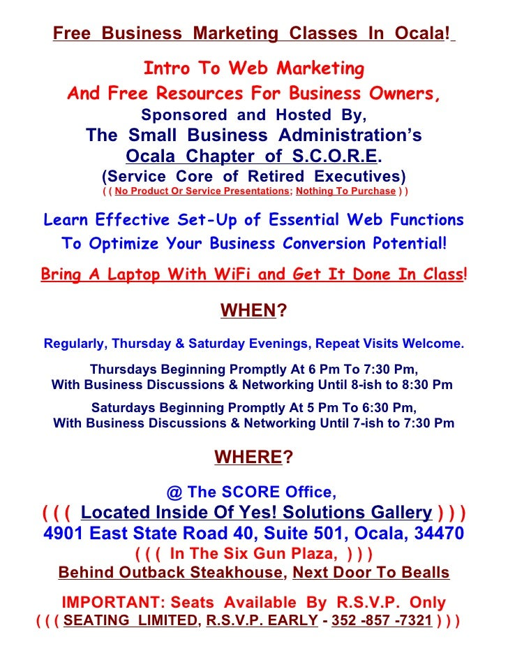 Free Business Marketing Classes In Ocala!            Intro To Web Marketing    And Free Resources For Business Owners,    ...