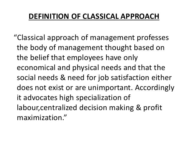 Classical Approach 2