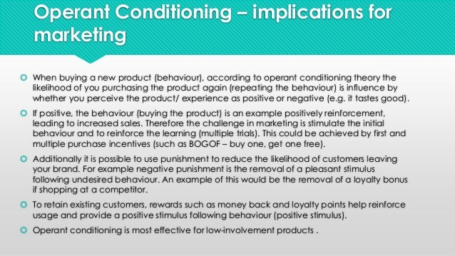 instrumental operant conditioning Operant conditioning does not mean reward training operant conditioning  actually encapsulates both reward and aversive training in its simplest form,  operant.