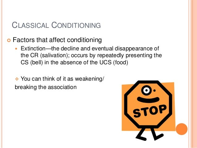 Classical Conditioning Generalization Discrimination Extinction A