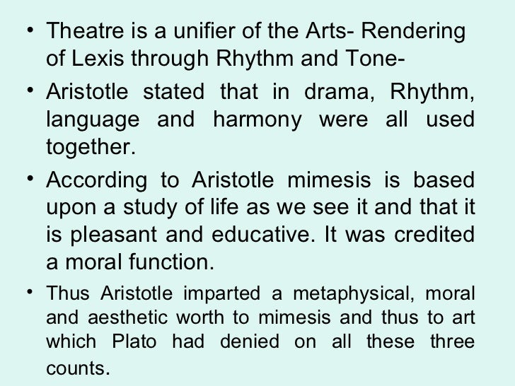 mimesis plato and aristotle Mimesis is a greek term that means imitation the first step in understanding aristotle's account of mimesis is remembering that he spent many years studying at plato.