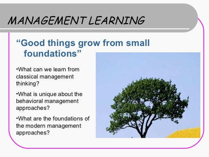 """MANAGEMENT LEARNING <ul><li>"""" Good things grow from small foundations"""" </li></ul><ul><li>What can we learn from classical ..."""