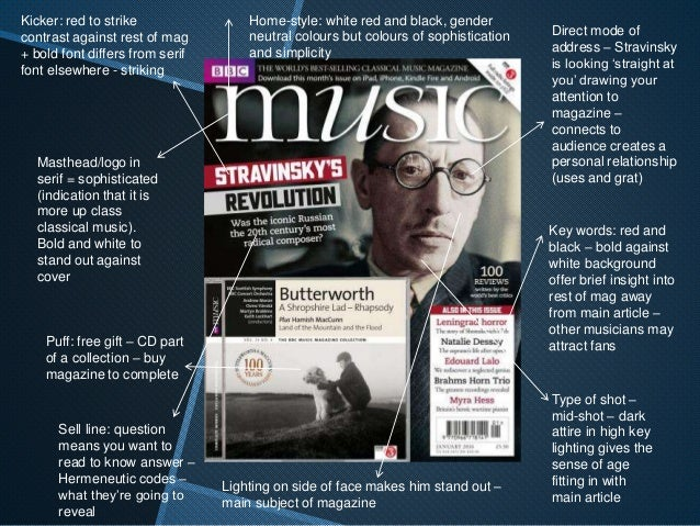 Classical music magazines front cover analysis
