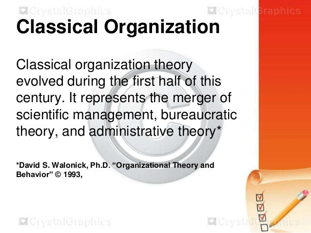 compare bureaucratic and scientific management theory Bureaucratic management theory developed by max weber, contained two essential elements, including structuring an organization into a hierarchy and having clearly defined rules to help govern an organization and its members.