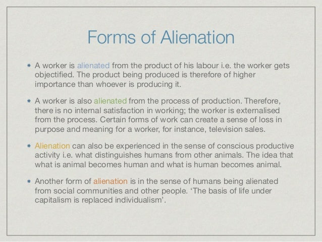 marx theory of alienation summary