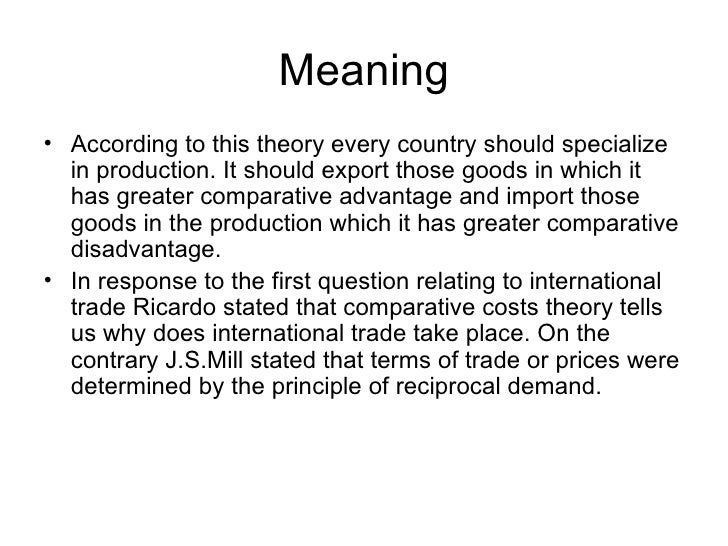 """classical theory of international trade """"his pure theory of international trade was, it would appear, the first comprehensive formal statement of pure trade theory"""" rudy dornbush introduction to the 1960 study."""