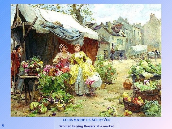 8 Louis Marie de Schryver Woman buying flowers at a market