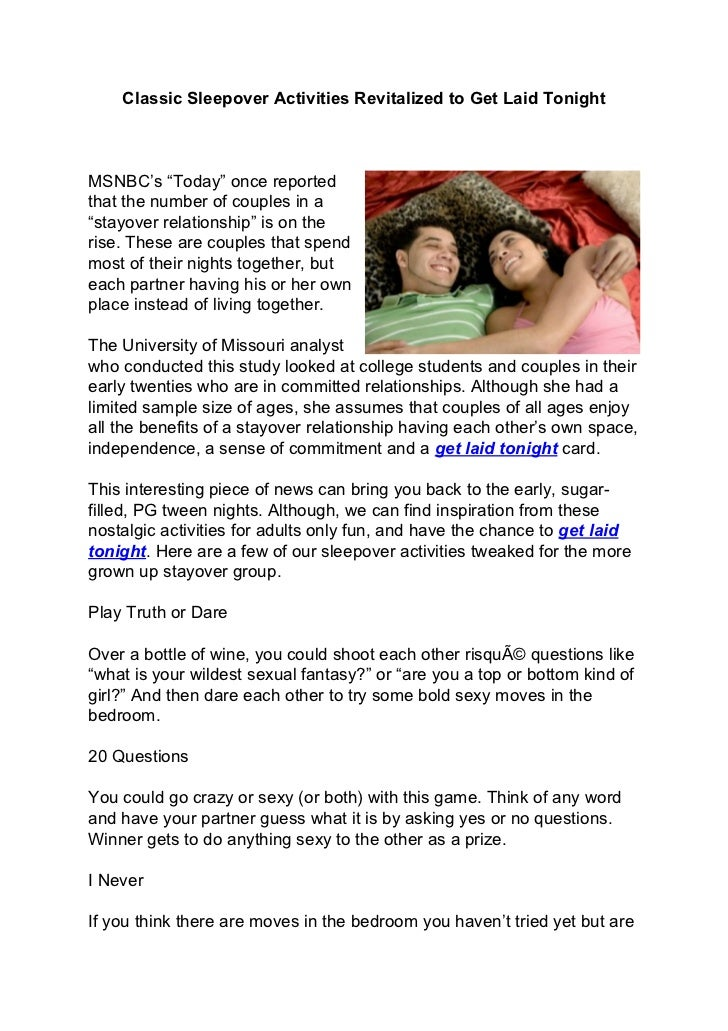 """Classic Sleepover Activities Revitalized to Get Laid TonightMSNBC's """"Today""""  once reportedthat the number of ..."""