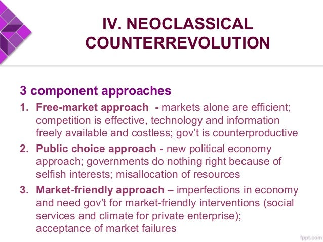IV. NEOCLASSICAL COUNTERREVOLUTION Traditional Neoclassical Growth Theory Liberalization – opening up of markets, draw inv...