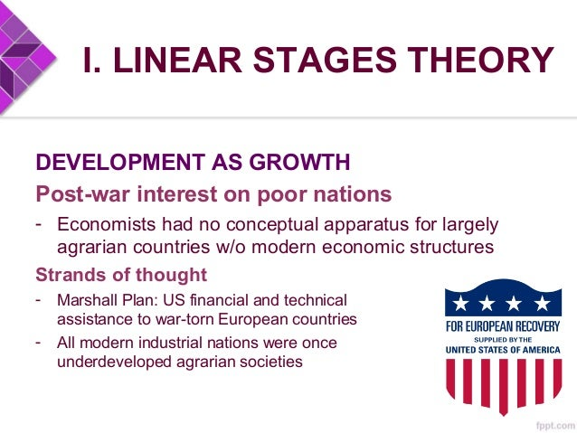 I. LINEAR STAGES THEORY DEVELOPMENT AS GROWTH Post-war interest on poor nations - Economists had no conceptual apparatus f...