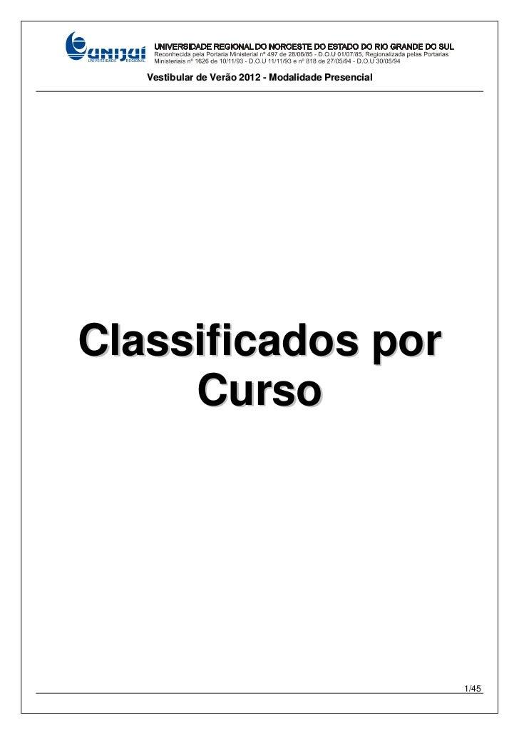 Vestibular de Verão 2012 - Modalidade PresencialClassificados por     Curso                                               ...