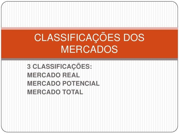 3 CLASSIFICAÇÕES: <br />MERCADO REAL<br />MERCADO POTENCIAL<br />MERCADO TOTAL<br />CLASSIFICAÇÕES DOS MERCADOS<br />