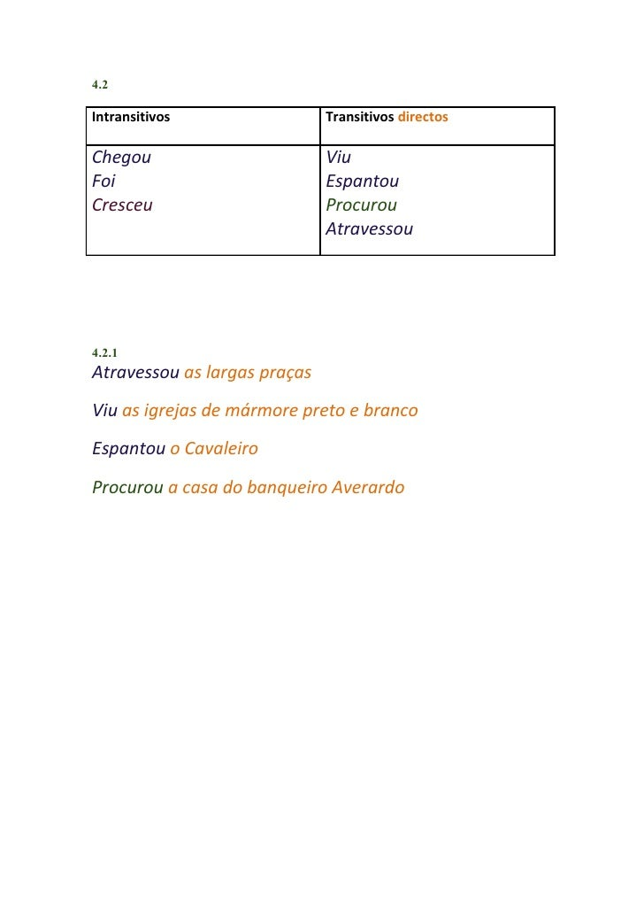 4.2Intransitivos                 Transitivos directosChegou                        ViuFoi                           Espant...