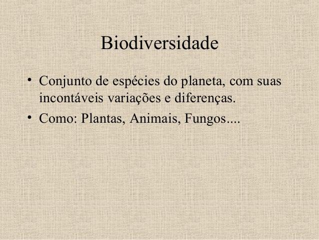 Biodiversidade• Conjunto de espécies do planeta, com suas  incontáveis variações e diferenças.• Como: Plantas, Animais, Fu...