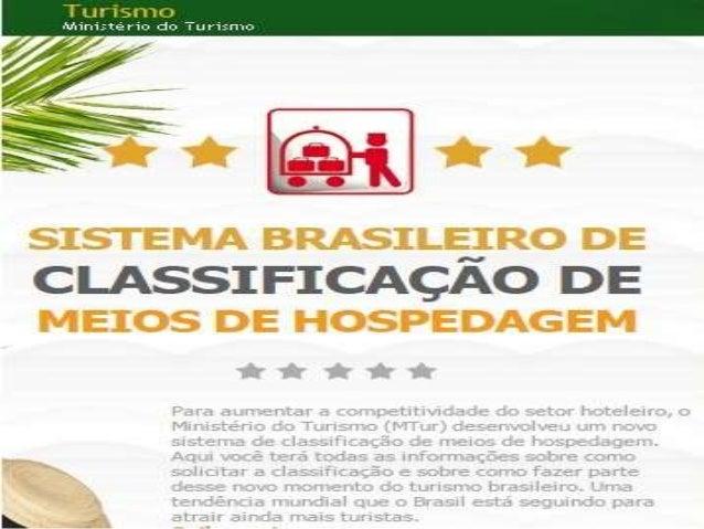 • O novo Sistema brasileiro de Classificação de  Meios de Hospedagem(SBClass) foi elaborado de  forma participativa, por m...