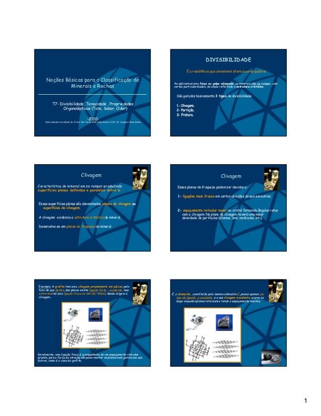 1 Noções Básicas para a Classificação de Minerais e Rochas T7- Divisibilidade, Tenacidade , Propriedades Organolépticas (T...