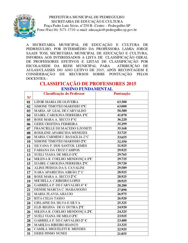 PREFEITURA MUNICIPAL DE PEDREGULHO SECRETARIA DE EDUCAÇÃO E CULTURA Praça Padre Luiz Sávio, n°250 B -Centro – Pedregulho-S...