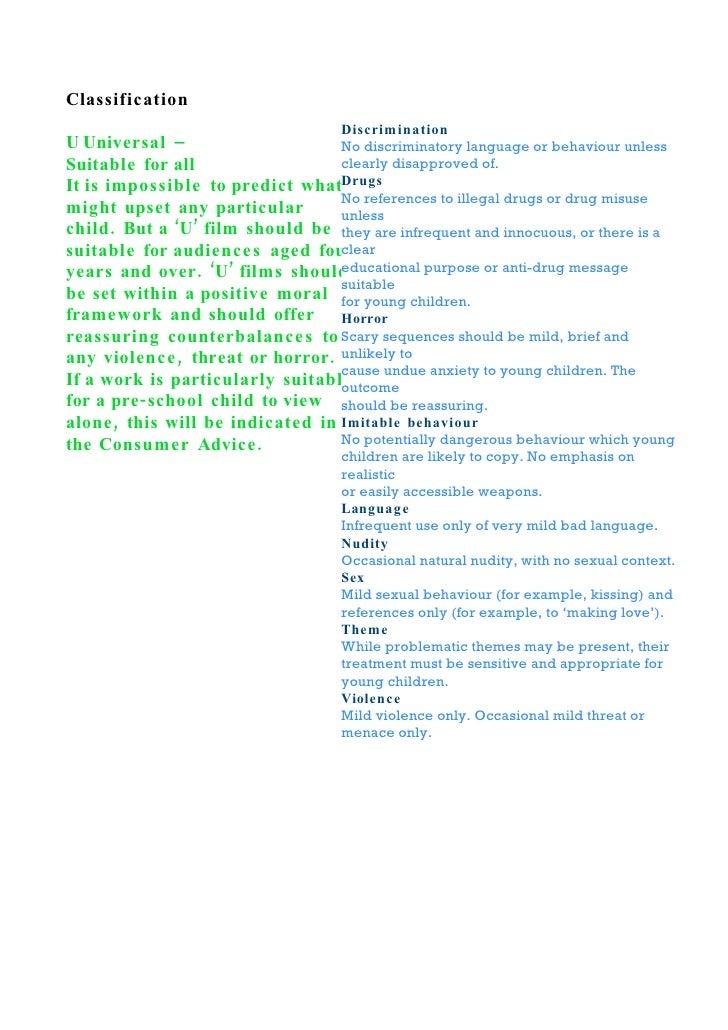 Classification                                     Discrimination U Universal –                     No discriminatory lang...