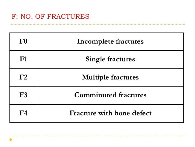 F: NO. OF FRACTURES F0 Incomplete fractures F1 Single fractures F2 Multiple fractures F3 Comminuted fractures F4 Fracture ...