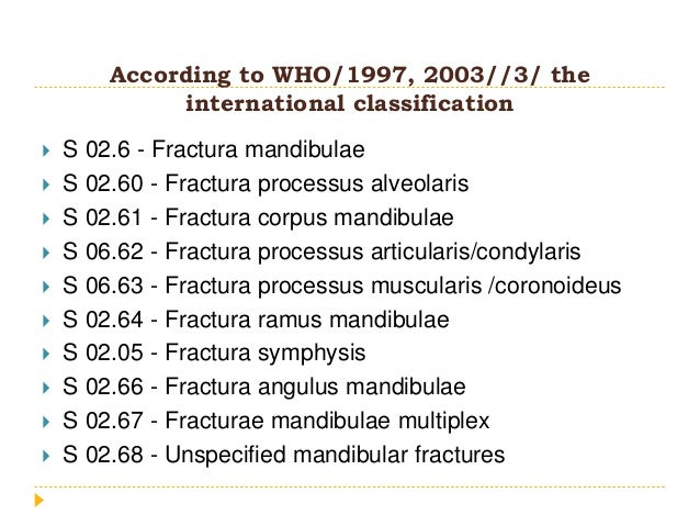 According to WHO/1997, 2003//3/ the international classification  S 02.6 - Fractura mandibulae  S 02.60 - Fractura proce...