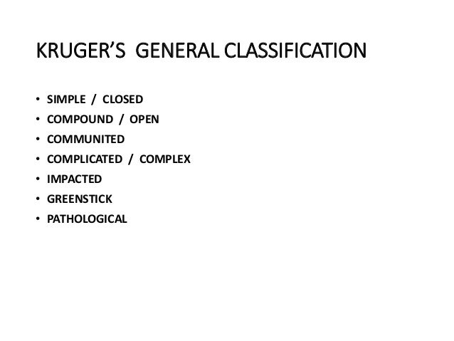KRUGER'S GENERAL CLASSIFICATION • SIMPLE / CLOSED • COMPOUND / OPEN • COMMUNITED • COMPLICATED / COMPLEX • IMPACTED • GREE...