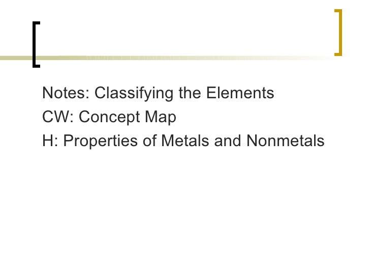 <ul><li>Notes: Classifying the Elements </li></ul><ul><li>CW: Concept Map </li></ul><ul><li>H: Properties of Metals and No...