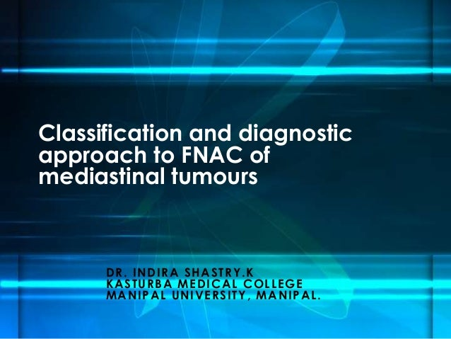 DR. INDIRA SHASTRY.K KASTURBA MEDICAL COLLEGE MANIPAL UNIVERSITY, MANIPAL. Classification and diagnostic approach to FNAC ...
