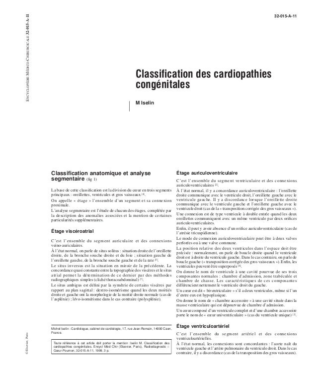 Classification des cardiopathies  congénitales  M Iselin  Classification anatomique et analyse  segmentaire (fig 1)  La ba...