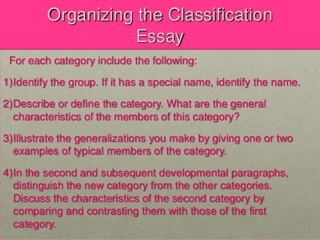 Define Classification Division Essay