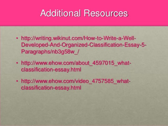division and classification essays are often organized