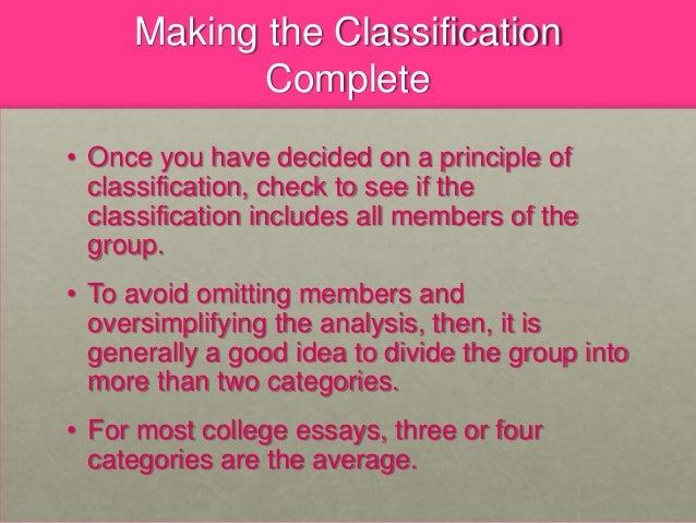 classification essay 8 making the classification