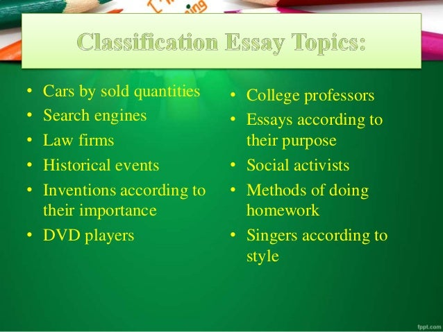 Classification and division essay prompts
