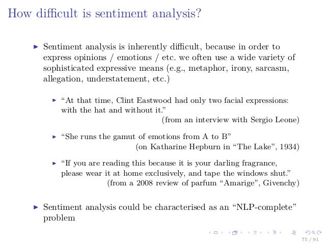 a research on sentiment analysis and classification Sentiment analysis can be used as a complementary research technique the paper presents a unique view on the topic of sentiment analysis in social science research by showing how.