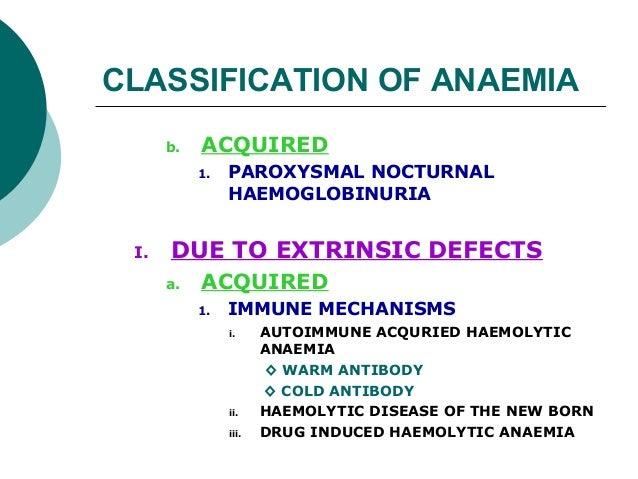 CLASSIFICATION OF ANAEMIA      b.   ACQUIRED           1.   PAROXYSMAL NOCTURNAL                HAEMOGLOBINURIA I.   DUE T...