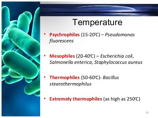 Temperature • Psychrophiles (15-200 C) – Pseudomonas fluorescens • Mesophiles (20-400 C) – Escherichia coli, Salmonella en...
