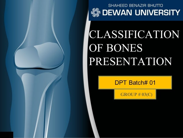 CLASSIFICATION OF BONES PRESENTATION DPT Batch# 01 GROUP # 03(C)