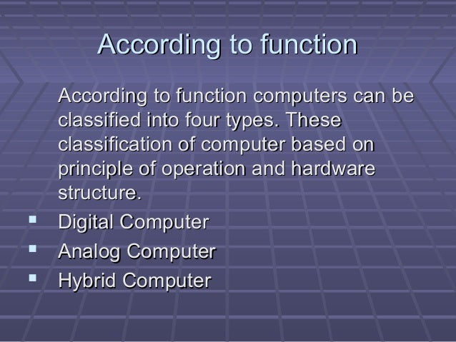 classification of computers Pc (personal computer) a pc can be defined as a small, relatively inexpensive computer designed for an individual user pcs are based on the microprocessor technology that enables manufacturers to put an entire cpu on one chip.