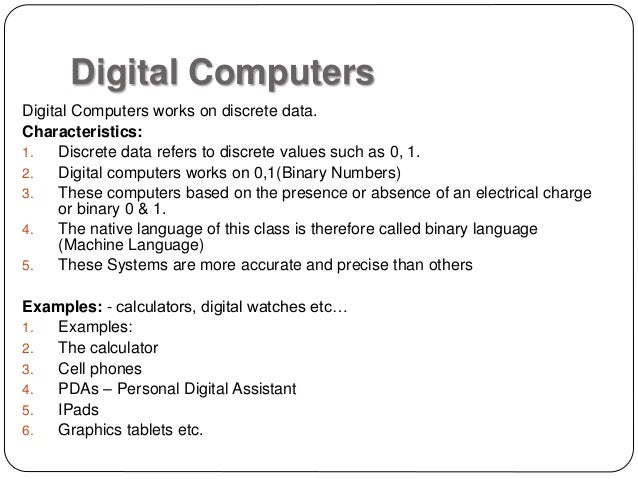 Classification of computers by type
