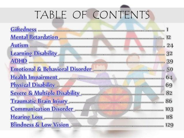 Classification of exeptionalities Slide 2