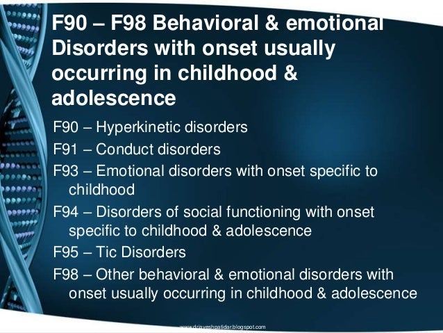 F90 – F98 Behavioral & emotionalDisorders with onset usuallyoccurring in childhood &adolescenceF90 – Hyperkinetic disorder...