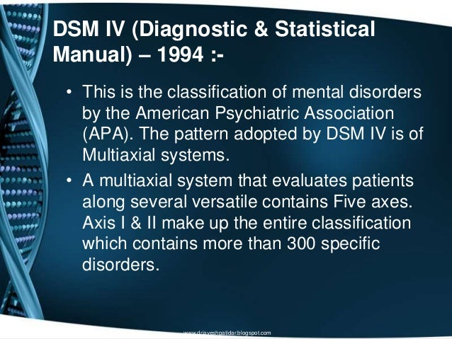 DSM IV (Diagnostic & StatisticalManual) – 1994 :-• This is the classification of mental disordersby the American Psychiatr...