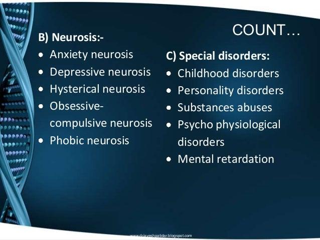 COUNT…B) Neurosis:-Anxiety neurosisDepressive neurosisHysterical neurosisObsessive-compulsive neurosisPhobic neurosisC) Sp...